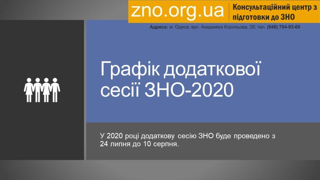 График дополнительной сессии ЗНО-2020